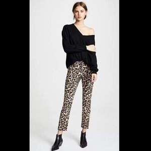NWT Paige Hoxton Leopard Print Straight Jeans